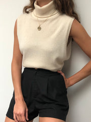 Vintage Cream Cashmere Sleeveless Turtleneck