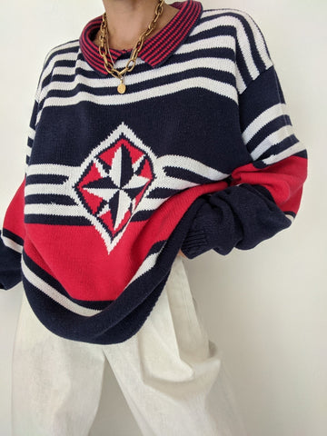 Vintage Nautical Knit Sweater