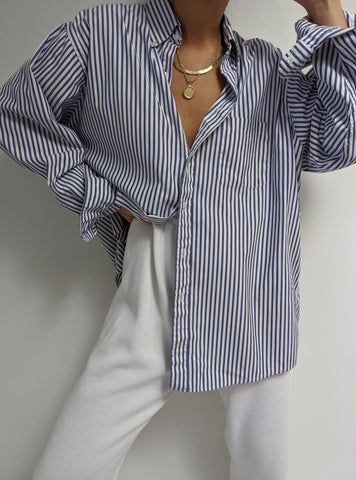 Vintage Classic Blue Striped Button Up