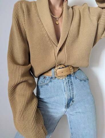 Vintage Camel Ribbed Knit Cardigan