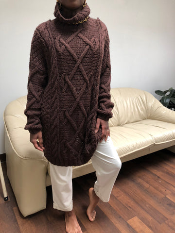 Vintage Cocoa Cable Knit Chunky Tunic