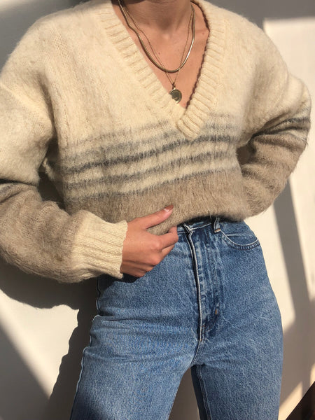 Vintage Mohair and Wool Striped Sweater