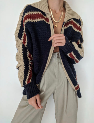 Vintage Chunky Knit Zip Up Cardigan