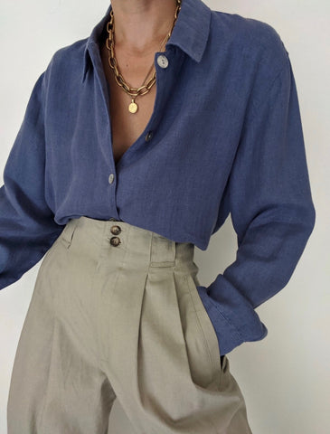 Vintage Faded Blue Linen Button Up