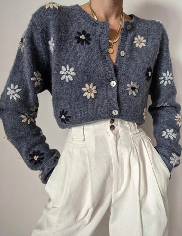 Vintage Wool Floral Embroidered Cardigan
