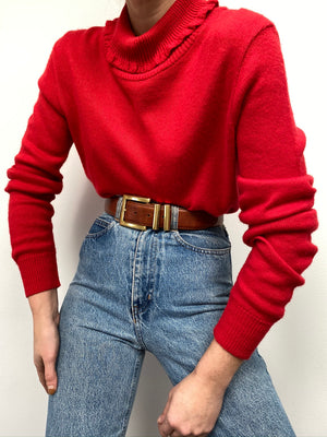 Vintage Cherry Knit Ruffled Collar Sweater