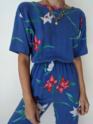 Vintage Tropical Floral Jumpsuit