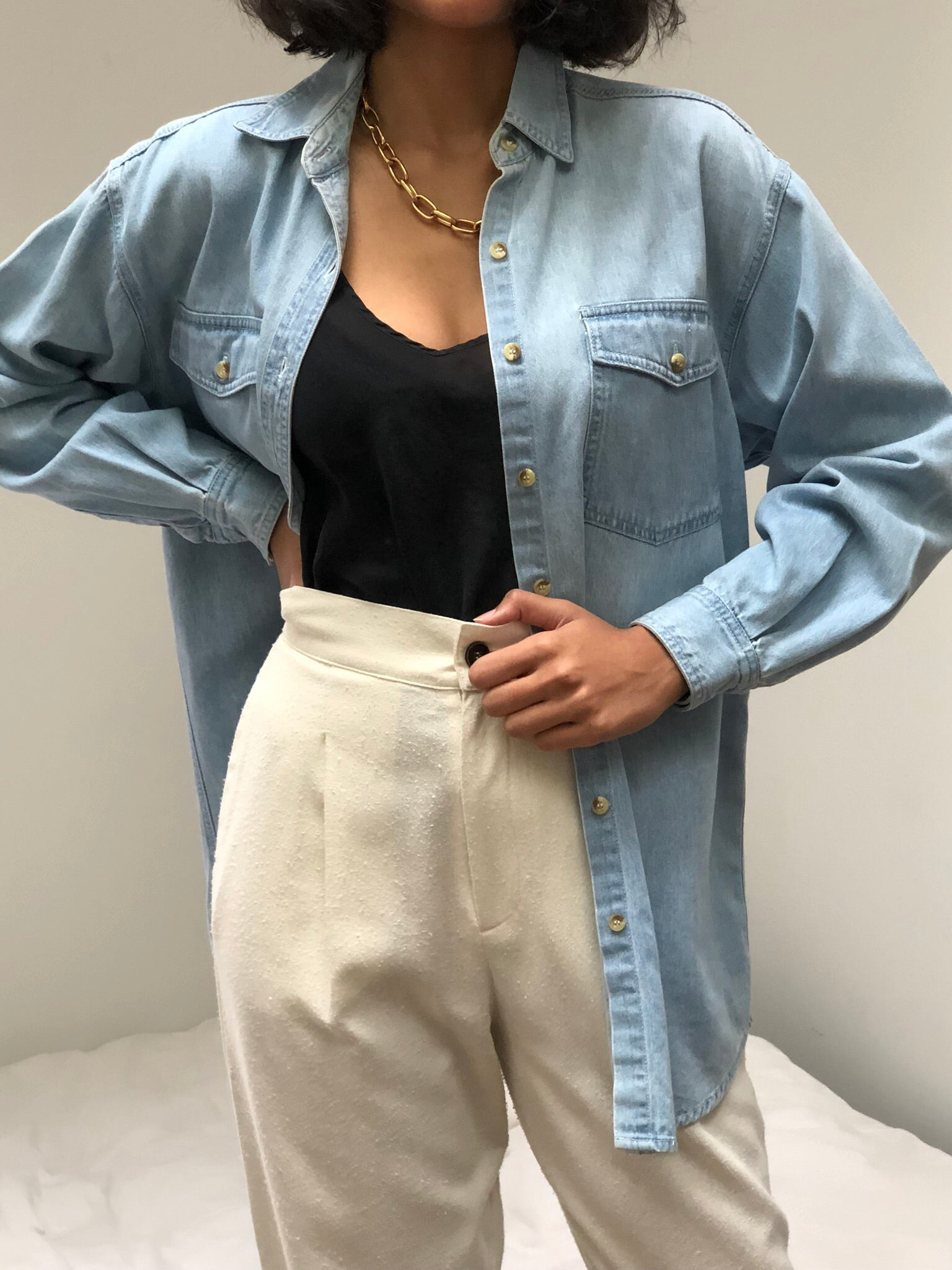 Vintage Faded Light Wash Denim Button Up