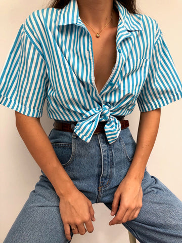 Vintage Aqua Striped Button Up