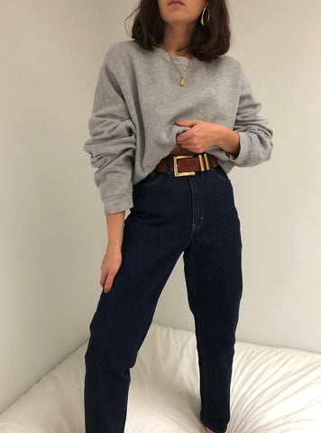 Vintage Dark Wash High Waist Denim