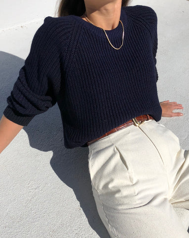 Vintage Midnight Ribbed Knit Pullover