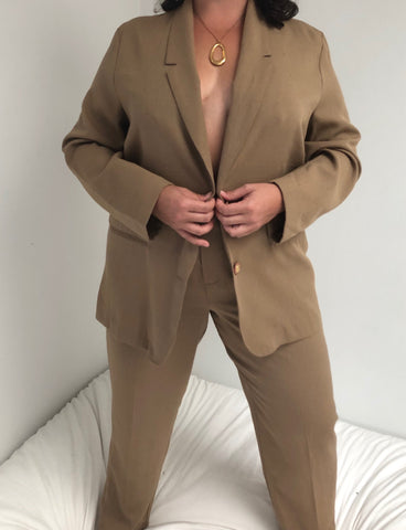 Vintage Taupe Textured Lightweight Suit