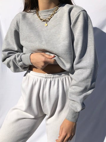 Vintage Grey Cotton Blend Pullover