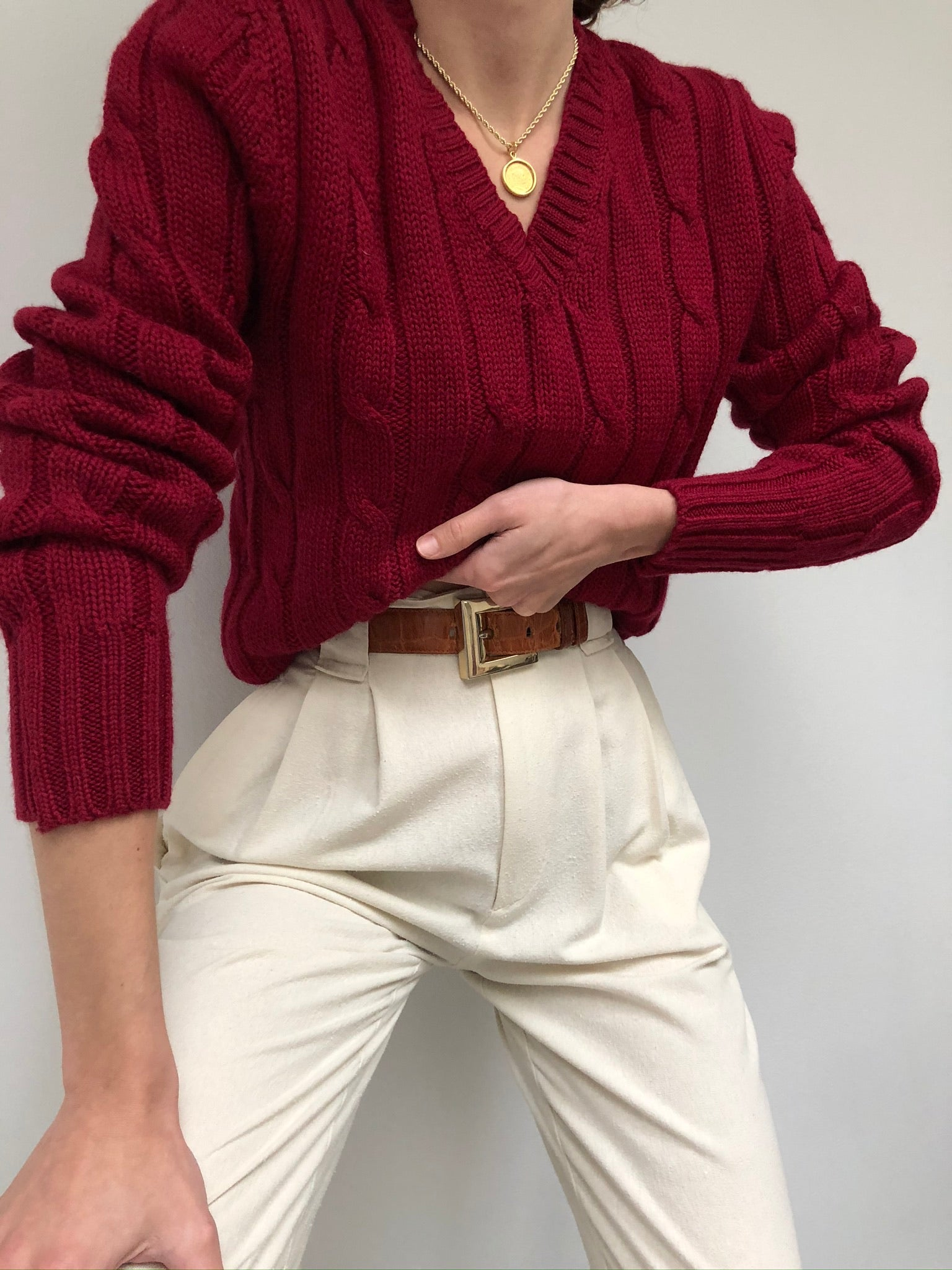 Vintage Berry Wool Cable Knit Pullover
