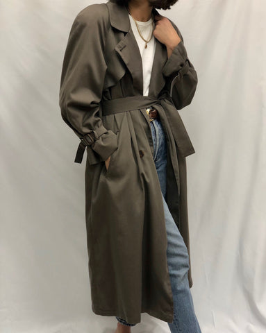 Vintage Faded Olive Trench Coat