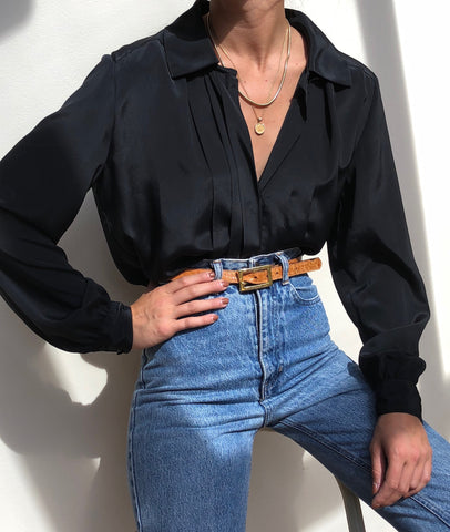 Vintage Onyx Paneled Button Up Blouse
