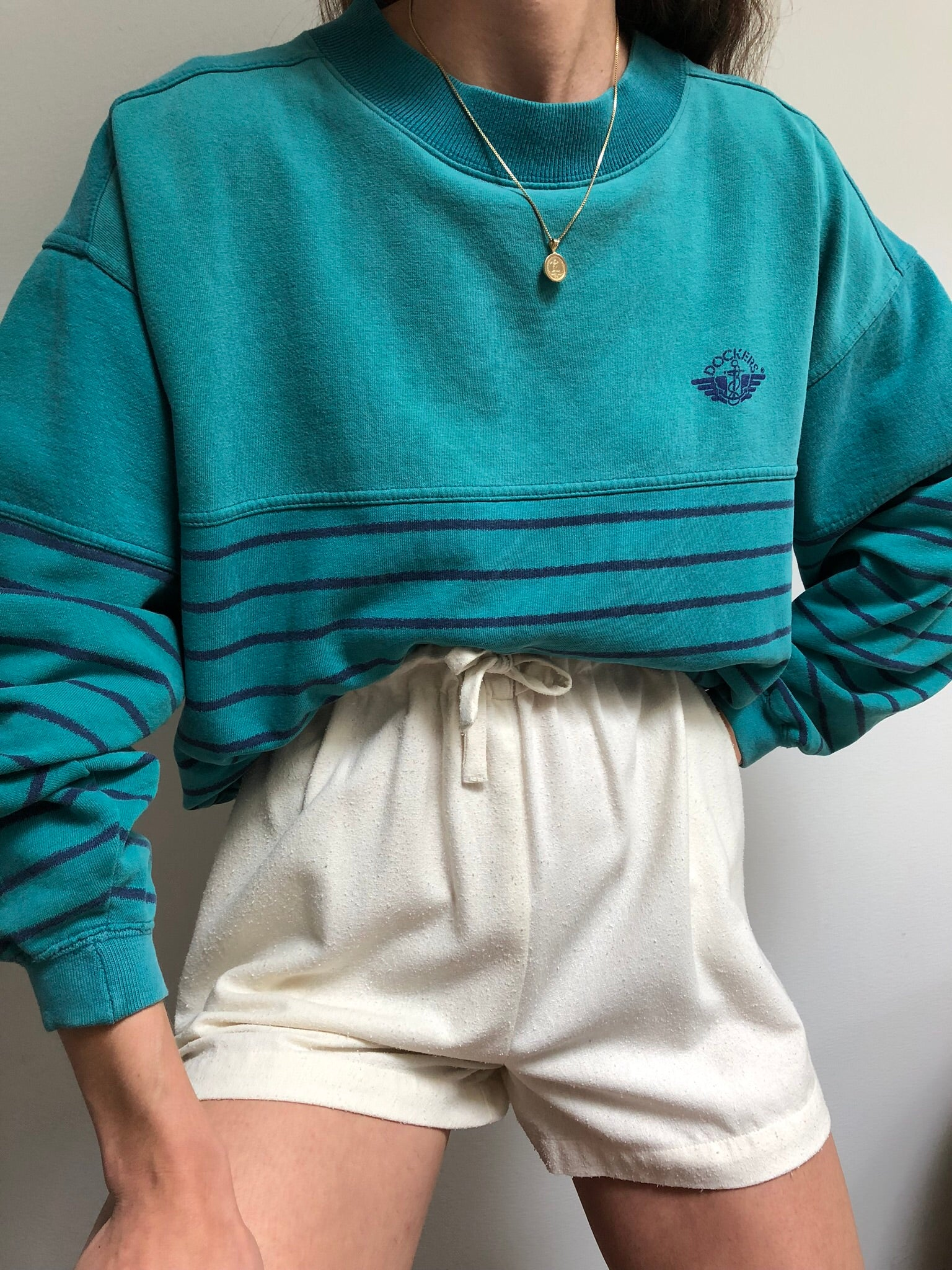Vintage Teal Striped Dockers Pullover