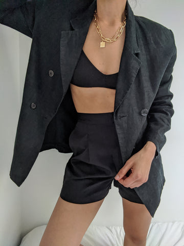 Vintage Faded Black Linen Blazer