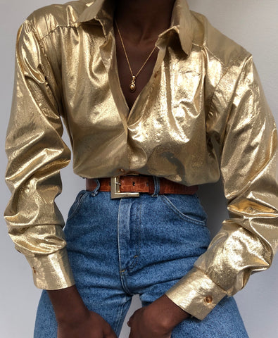 Vintage Gold Lame Blouse