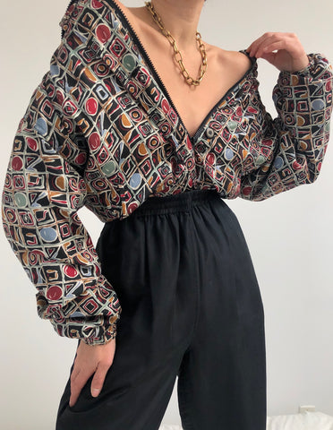 Vintage Geometric Patterned Silk Track Suit