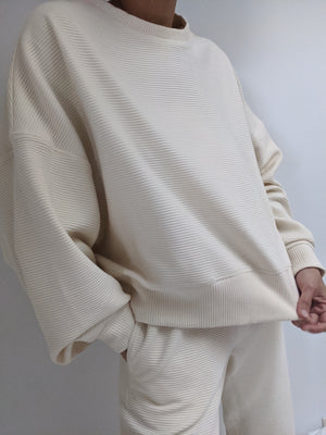 Na Nin Margot Rippled Cotton Cropped Sweatshirt / Available in Cream & Faded Black