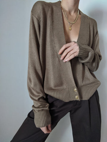 Vintage Cocoa Knit Low-V Cardigan