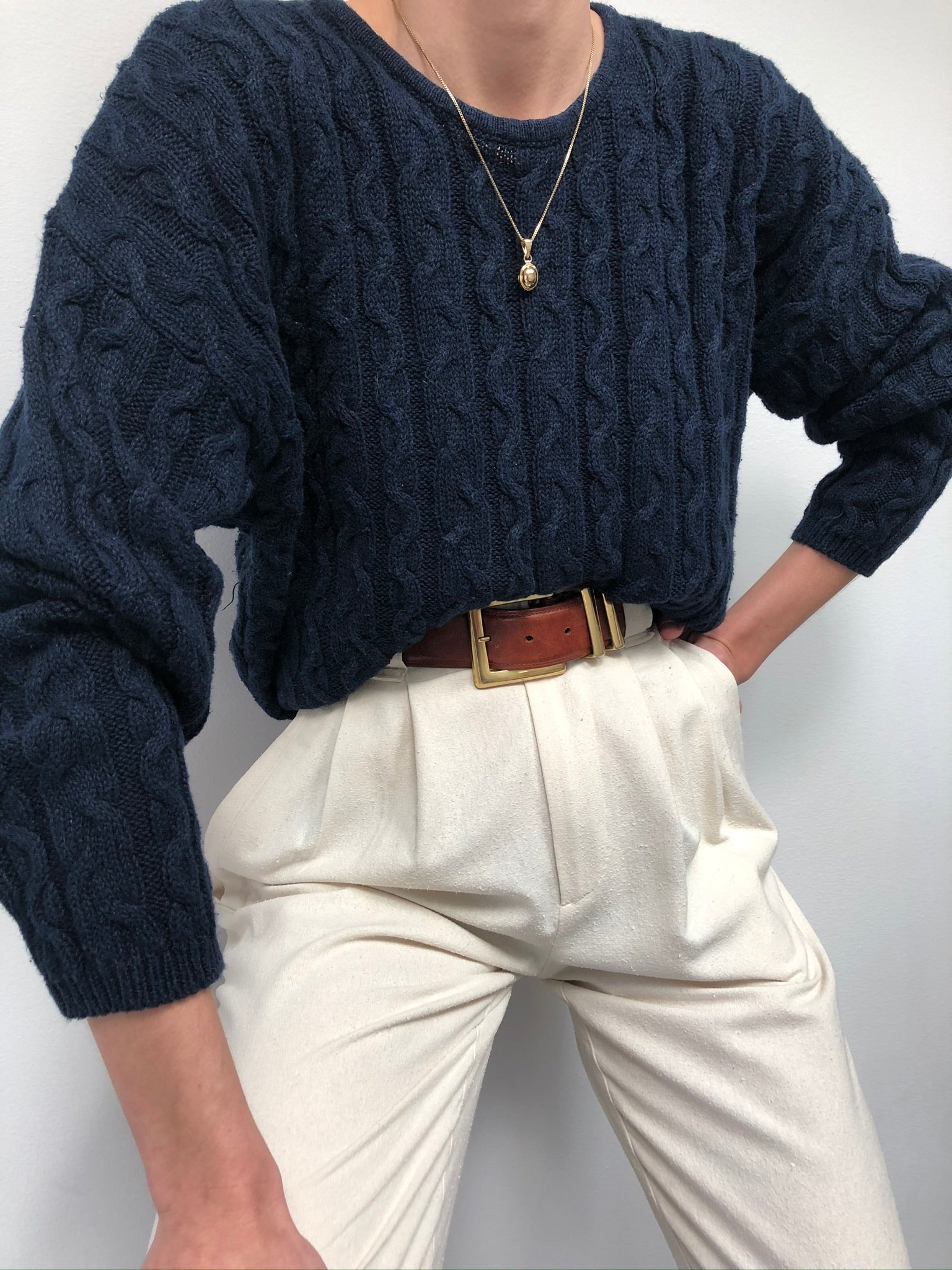 Vintage Navy Cable Knit Pullover
