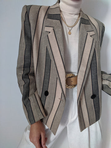 Vintage Striped Double Breasted Blazer