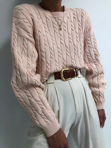 Vintage Blush Cable Knit Pullover