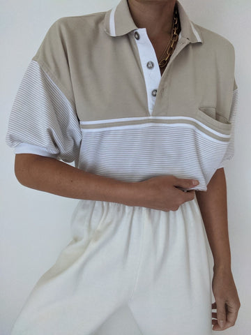 Vintage Taupe Striped Leisure Henley