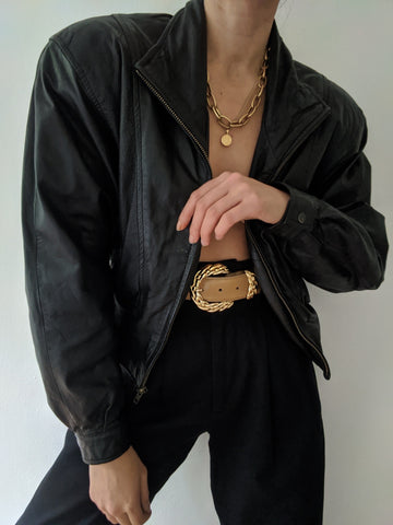 Vintage Favorite Cropped Black Leather Jacket