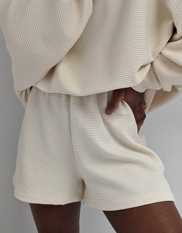 Na Nin Chloe Rippled Cotton Shorts / Available in Cream