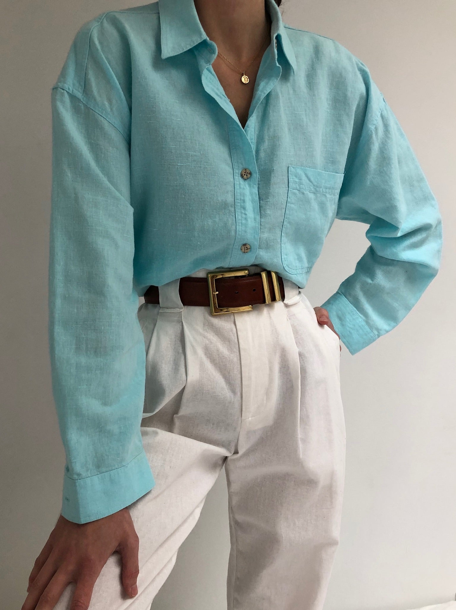 Vintage Aqua Linen Button Up