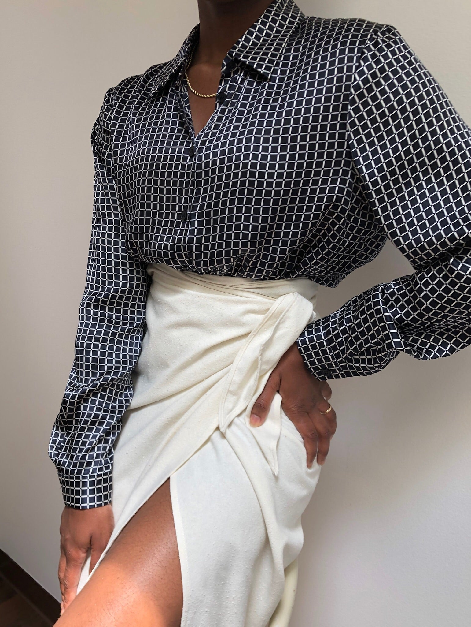 Vintage Silk Windowpane Blouse