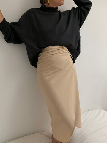 Na Nin Bobbie Raw Silk Wrap Skirt  / Available in Sand
