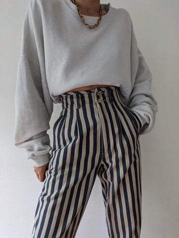 Vintage Rare Ultra High Waisted Striped Pant
