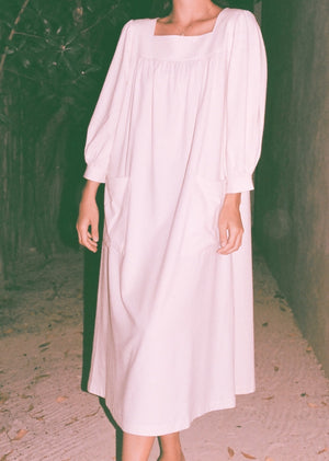Na Nin Raw Silk Eunice Muumuu / Available in Cream & Black