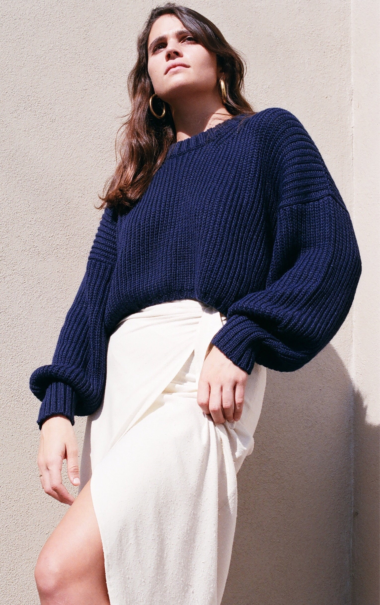 First Rite Crop Crew Sweater / Lapis