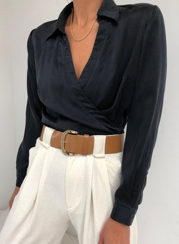 Vintage Dusty Silk Wrap Top