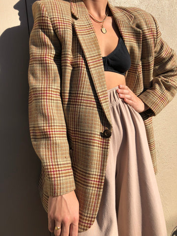 Vintage DKNY Tartan Wool and Cashmere Blend Blazer