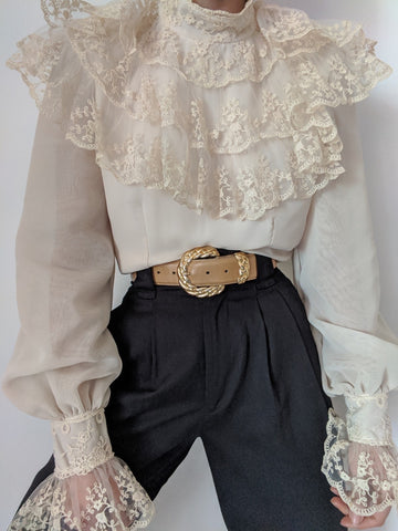 Vintage Stunning Lace Ruffle Blouse
