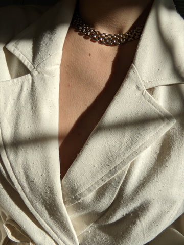 Vintage Gold Chain-Link Collar Necklace