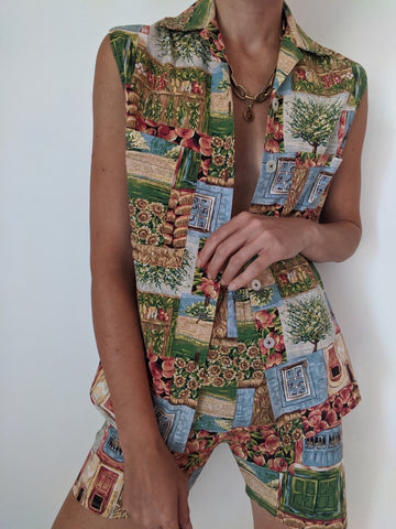 Vintage Printed Short Set