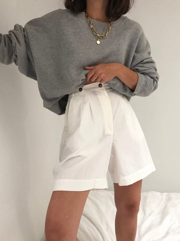 Vintage Eggshell Pleated Shorts