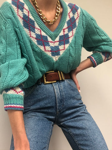 Vintage Robin Egg Collegiate Sweater