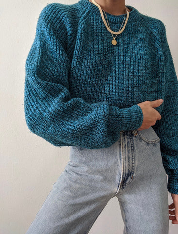 Vintage Marled Teal Knit Sweater
