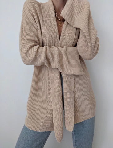 Ralph Lauren Sand Linen Open Sweater