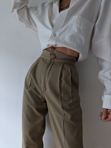 Vintage Khaki Pleated Trousers