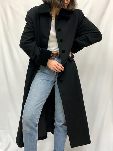 Vintage Onyx Wool Velvet Accent Coat