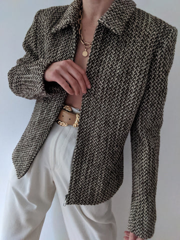 Vintage Woven Wool Zip Up Jacket